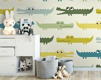 Funny Crocodile Removable Wallpaper Wall2stick Removable Wallpaper Kids Wallpaper Nursery Wallpaper