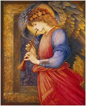 Edward Burne-Jones, An Angel Playing a Flageolet (detail), c. 1878 Tempera and gold paint on paper, The National Museums and Galleries on Merseyside, Liverpool.
