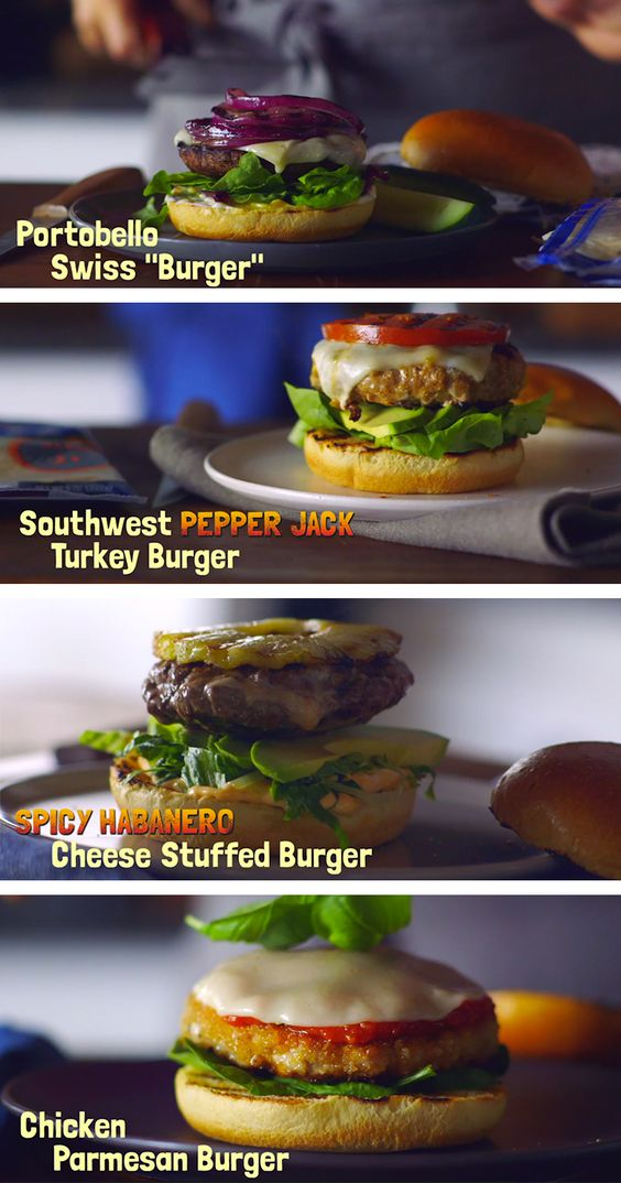 If someone asks you how you'll take your burger, tell them all four ways. #MakeSomethingAmazing with KRAFT Natural Cheese. Portobello Swiss Burger, Southwest Pepper Jack Turkey Burger, Spicy Habanero Cheese Stuffed Burger, Chicken Parmesan Burger.