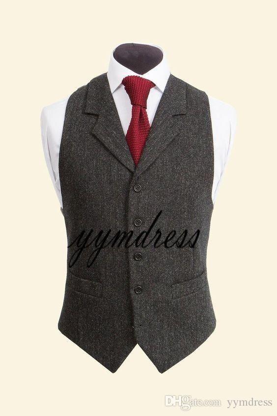 Mens Retro Wool Tweed Herringbone Vest Lapel Waistcoat Gilet Suits Formal Tops