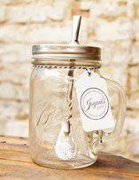 Bild: Matetee Glas Ball Mason Jars kaufen Glasbehälter Smoothie Drink to go Cup Vintage Edelstahl Strohhalm Detox Wasser mit Obst gesund ökologisch nachhaltig