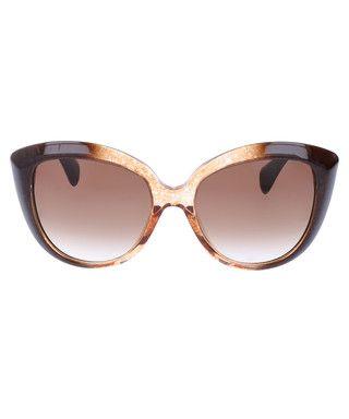 Brown & honey round cat eye sunglasses Sale - Alexander McQueen Sale