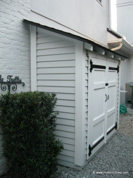 narrow storage shed   This 3′x7′ shed features a shed roof with exposed rafter tails ...