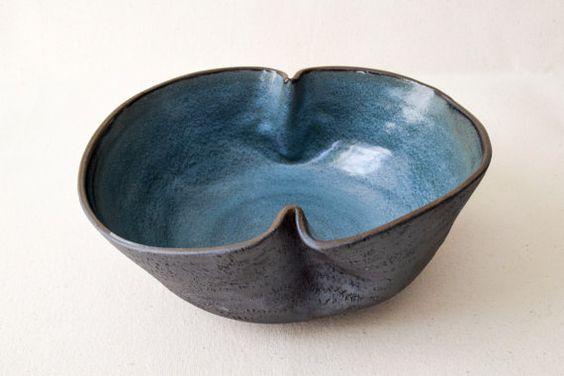 NEW! Large Folded Serving Bowl/Ceramic Bowl/Ceramic Serving Bowl/Blue…