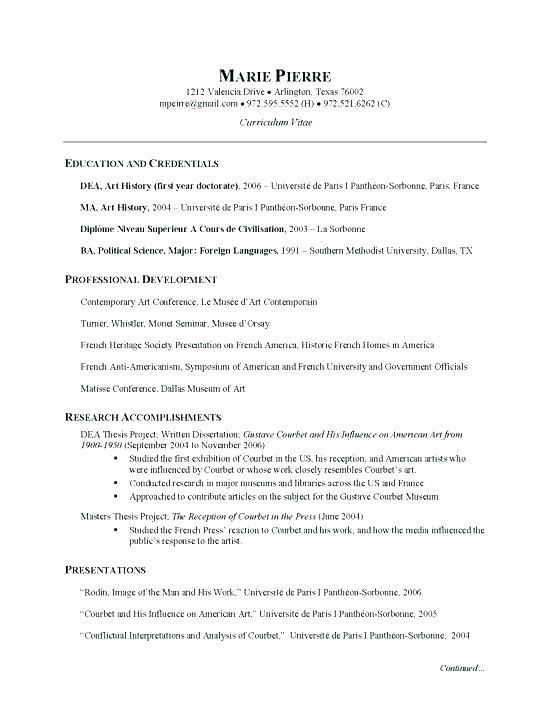 Free Example Of Resume French Resume Example Resume And Examples Resume Samples Free French Resume Style Free Resume Resume Examples Artist Resume Cv Examples