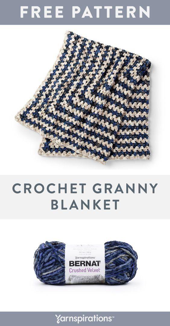 Bernat Crushed Velvet Yarn Pattern The Alternating Colors Of Crushed Velvet Yarn Add A Beau In 2020 Crochet Throw Pattern Yarnspirations Crochet Crochet Knit Blanket