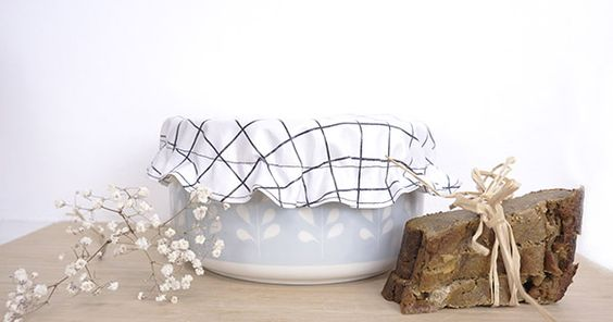 DIY Charlotte couvre plat en tissu enduit et coton bio réutilisable - Perles & Co