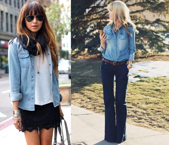 Camisa jeans + saia ou jeans + jeans escuro