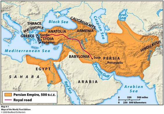 map of the Persian Empire, 500 BC. Mystery of History Volume 1, Lesson 67 #MOHI67
