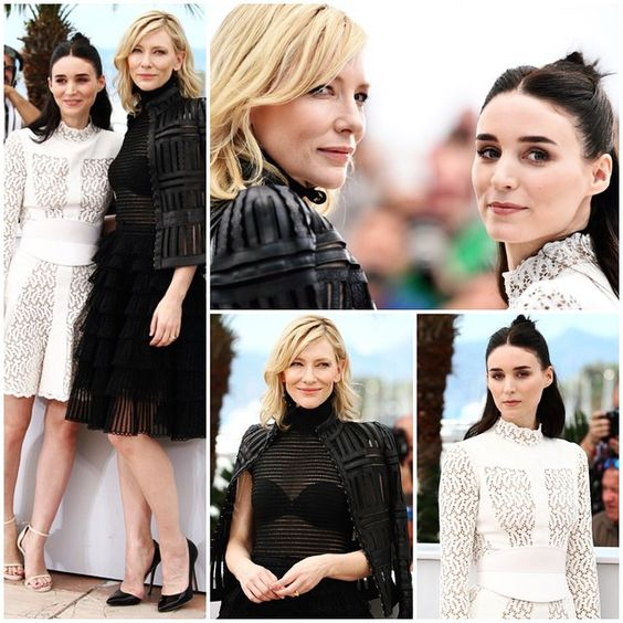Cate Blanchett joins co-star Rooney Mara at the photocall for 'Carol' during the 2015 Cannes Film Festival in France on Sunday. #CateBlanchett #RooneyMara #Cannes #Fashion #Carol #Movies