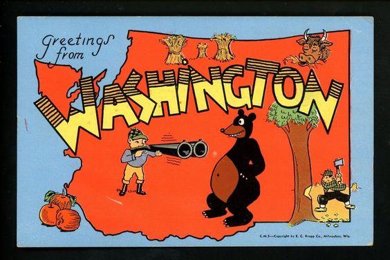 Large Letter Like linen postcard Cartoon Comic Style Kropp CM Washington WA