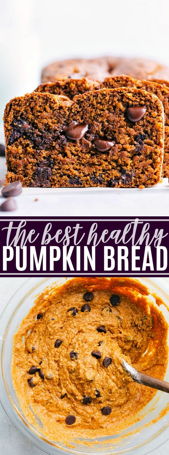 The best ever healthy pumpkin bread is bursting with Fall flavors and made with tons of healthy ingredient swaps. This healthy pumpkin bread with yogurt can be made with or without chocolate chips. via chelseasmessyapron.com #healthy #pumpkin #bread #easy #kidfriendly #greek #yogurt #fall #spices #health #best #ever #chocolate