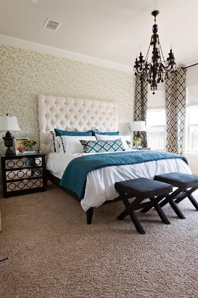 white and teal bedroom black chandelier