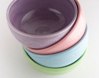 Platos de cerámica Set de 4 hechos por encargo por JeanetteZeis