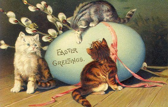 Vintage Easter Card - Cats & Egg: