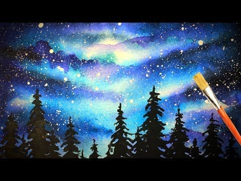 Watercolor Galaxy Forest Painting Starry Night Sky Simple Tutorial