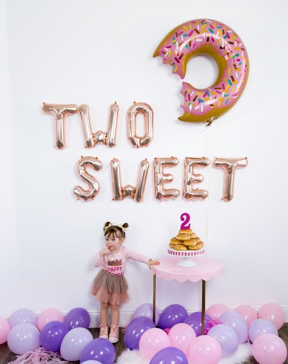 Two Sweet 2nd Birthday Party Birthday Decor In 2020 Donut