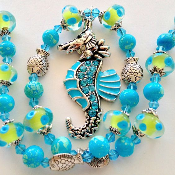Gift for Mom or Grandma Necklace Magnetic Clasp Sea Horse Pendant Aqua Matching Earrings & Stretch Bracelets Available