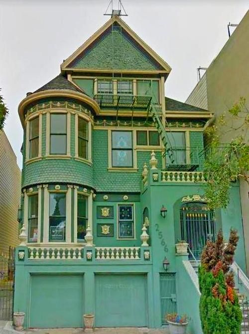 Beautiful Queen Anne Style Painted Lady House In San Francisco Ca Featuring A Deep Green And Gold Color Painted Lady House Gable Roof Design Victorian Homes
