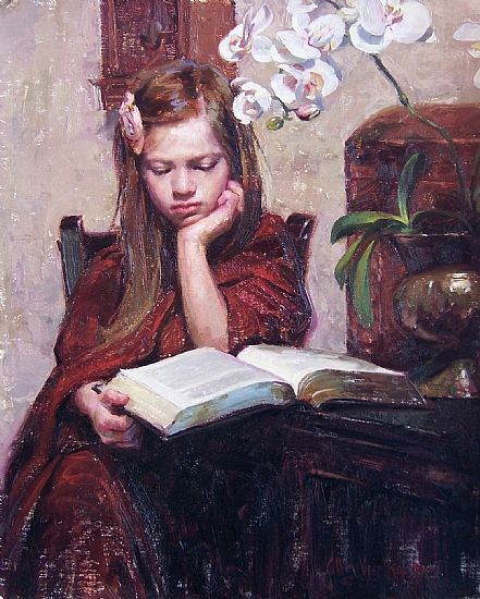 [my professor!] Daddy's Book by Albin Veselka Oil ~ 20 x 16: