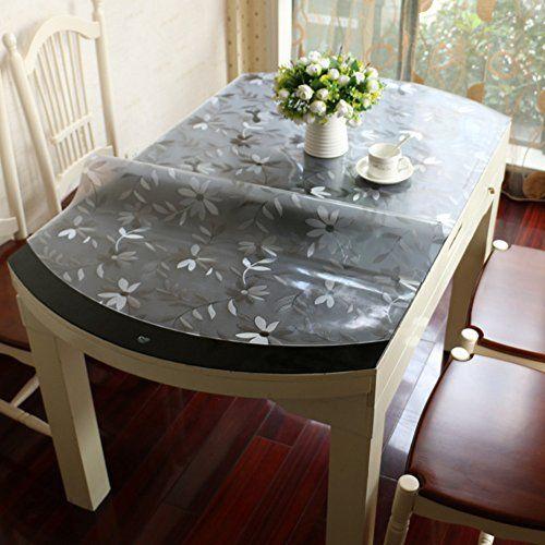 Pvc Tablecloth Table Mats Telescopic Folding Oval Soft Glass