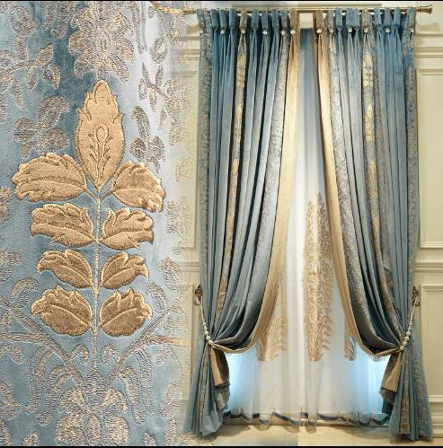 Luxury Blue And Gold Velour Curtains Embroidery Floral Blackout In 2020 Gold Curtains Living Room Blue And Gold Curtains Gold Curtains