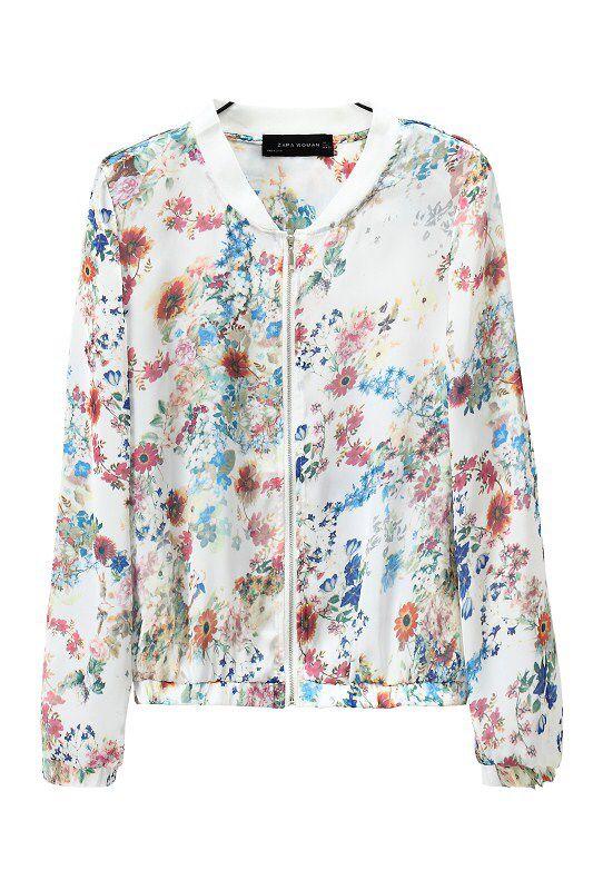 08 moda floral jaqueta de impressão para mulheres gola Zipper de manga comprida bolso outwear casual tops
