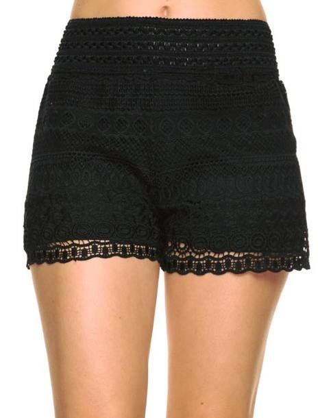 Black+colored+single+layer+crochet+lace+shorts.+Plus+size+only.+
