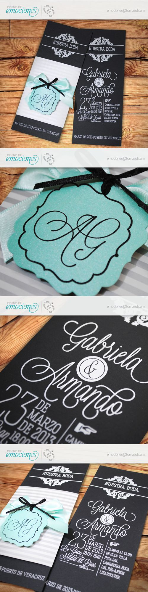 Sencilla y elegante invitación para boda. Impresa en serigrafía con cintillo en papel de fantasía. Cierra con monograma suajado con las iniciales de los novios y listón. Formal en negro y plata con detalles en menta