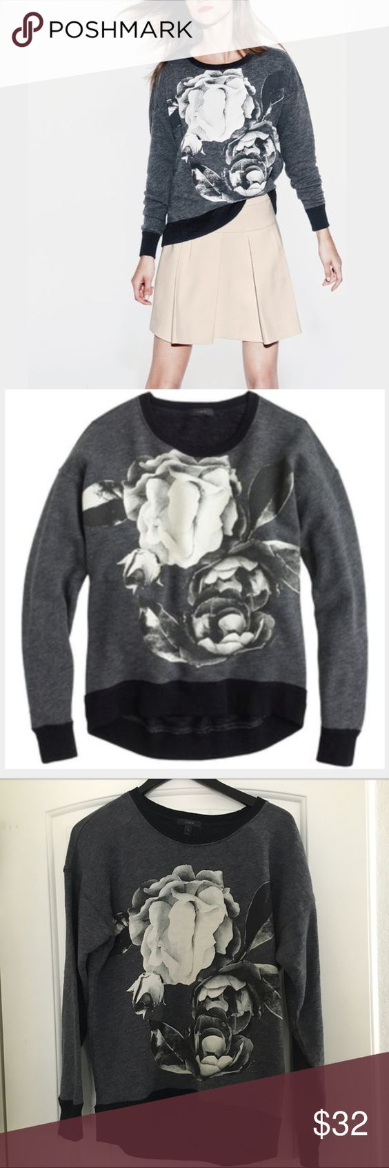 J. Crew sweatshirt with floral graphic Fun sweater shirt by J. Crew with floral graphic printed on the front. Slightly oversized fit. Size small. J. Crew Sweaters Crew & Scoop Necks