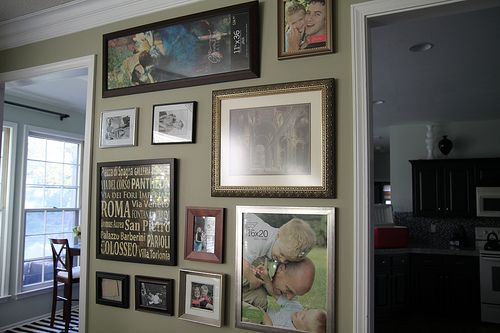 A nice photo wall with frames that don't all match