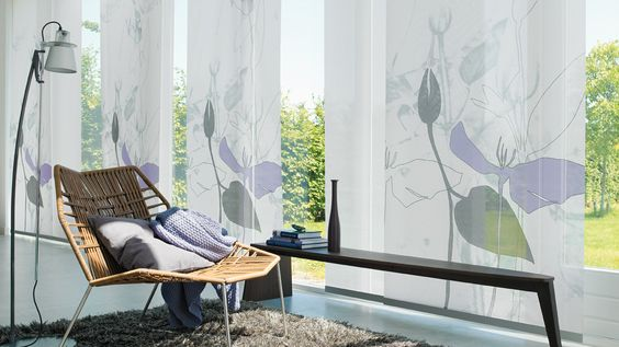 Make a statement with Panel Blinds    A stylish and innovative shading solution, ideally suited to larger windows and patio doors, they are a sleek and contemporary alternative to curtains. Giving a modern, designer-look to any room, they can also be used as a room divider.    Tracks allows them to slide apart and fit behind one another when fully drawn back.    Call us for a quote on 01637 871862