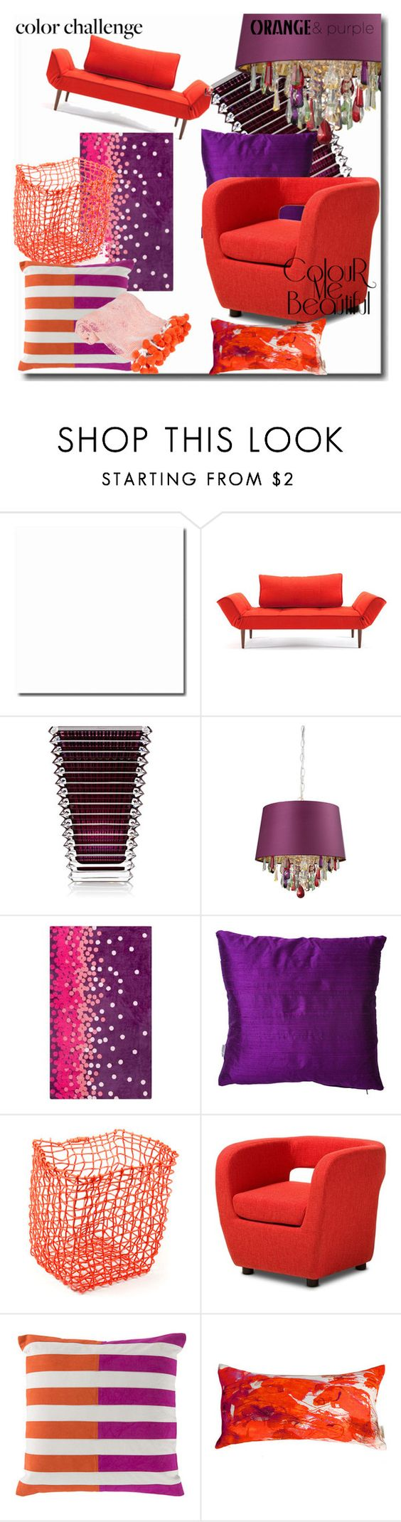 """""""Orange and Purple"""" by angy-beurskens ❤ liked on Polyvore featuring interior, interiors, interior design, home, home decor, interior decorating, Baccarat, Surya, Heal's and Baxton Studio"""