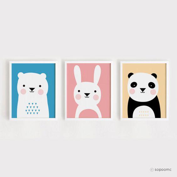 Printable Nursery Art Set of 3 Poster Bear Bunny Panda - Baby room Wall art Child room decor Digital file INSTANT DOWNLOAD