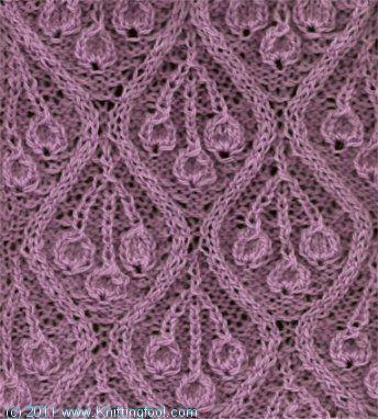 Knittingfool Stitch Gallery : Medallion with Cherries - Knittingfool Stitch Detail Knitting Stitches Pi...
