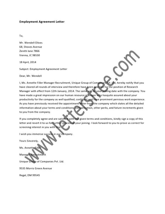 An Employment Agreement Letter Is Generally A Written Contract To