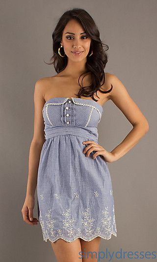 Strapless Short Denim Dress at PromGirl.com