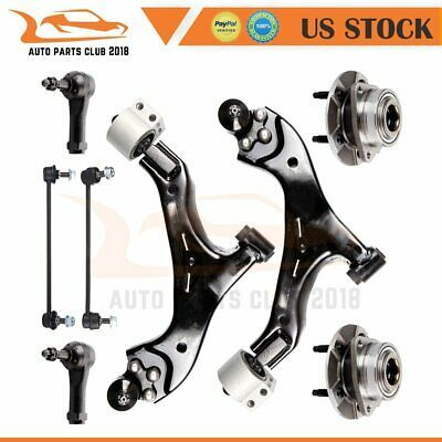 8pc Lower Control Arm Tie Rod Wheel Bearing Sway Bar Link Fits