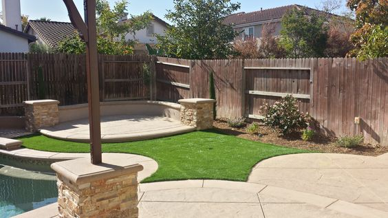 Synthetic Turf used in tight areas adjacent New Hardscape