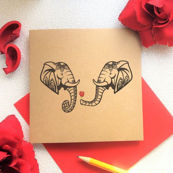 Blank Card  Elephant with a Red Rose Valentines by KushiyaDesigns