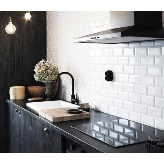 Black Gloss Kitchen Wall Tiles: 10x20cm Metro White Bevelled Brick Tile By Fabresa Tiles