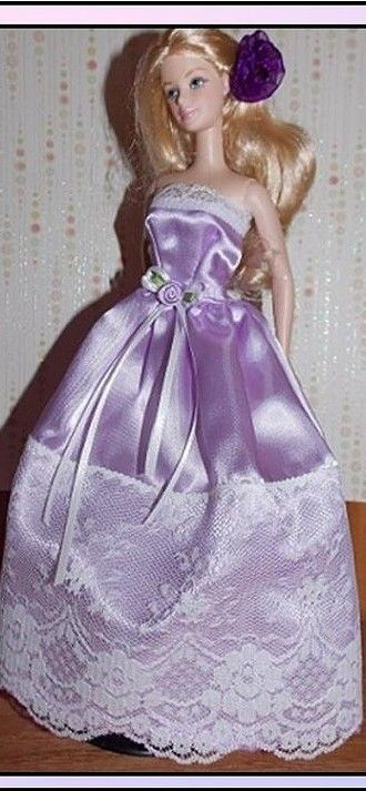 BArbie DOll in Purple Satin gown