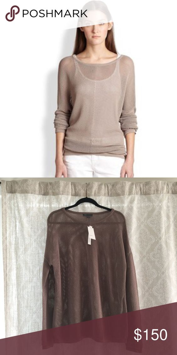 Vince medium mesh tan sweater Beautiful NWT Vince open-knit pullover with very flattering relaxed fit. Very versatile. 65% rayon 35% nylon. Originally $225. I know it doesn't look that great on the hanger, but it looks so pretty and drapes so nicely on! Vince Sweaters Crew & Scoop Necks