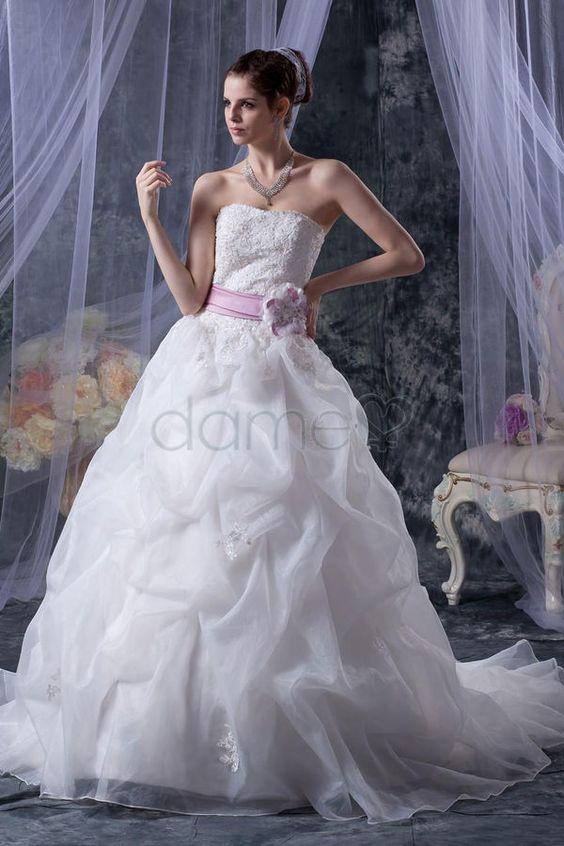Applikation Prinzessin Kirche Organza trägerloses bodenlanges aufgeblähtes Brautkleid