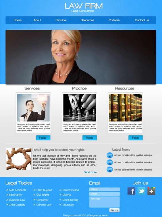 Psd download of law firm web template psd templates pronofoot35fo Choice Image