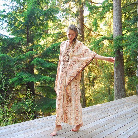70s Caftan Dress, Tan Snakeskin Hippie Maxi Dress, Desert Vacation Lounge Dress, Boho Vintage Kimono Dress, Toggle Button Wrap Tent Dress by SurfandtheCity
