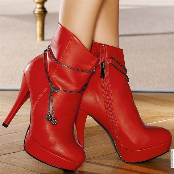 Bottines femme Rouge taille 38, achat en ligne Bottines femme sur MODATOI