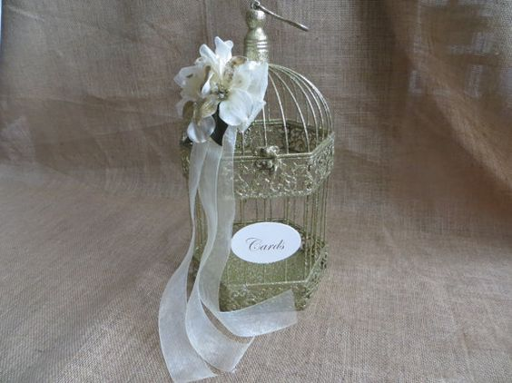 Glittering Wedding Bird Cage Card Holder by TheHauteBoxBoutique