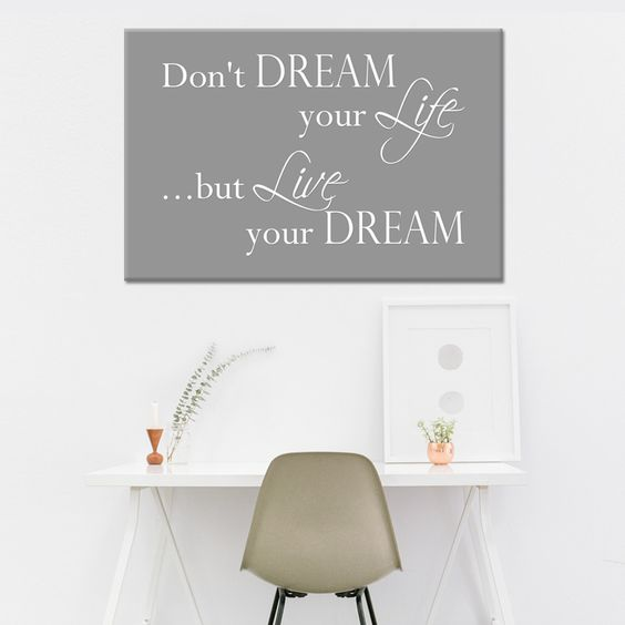 woonkamer - tekst op canvas - live your dream   woonkamer teksten, Deco ideeën