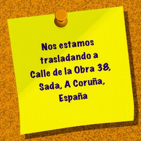 Nos estamos trasladando a: Calle de la obra 38, Sada, A Coruña, España Tenemos previsto abrir los primeros días del mes de julio 2015, estaremos informando, mil disculpas por las molestias.